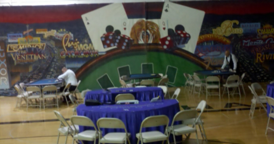 Casino Night Party Setup with Blackjack